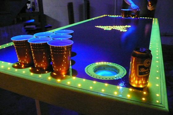 30 unique and creative beer pong table designs play - Glow in the dark table ...