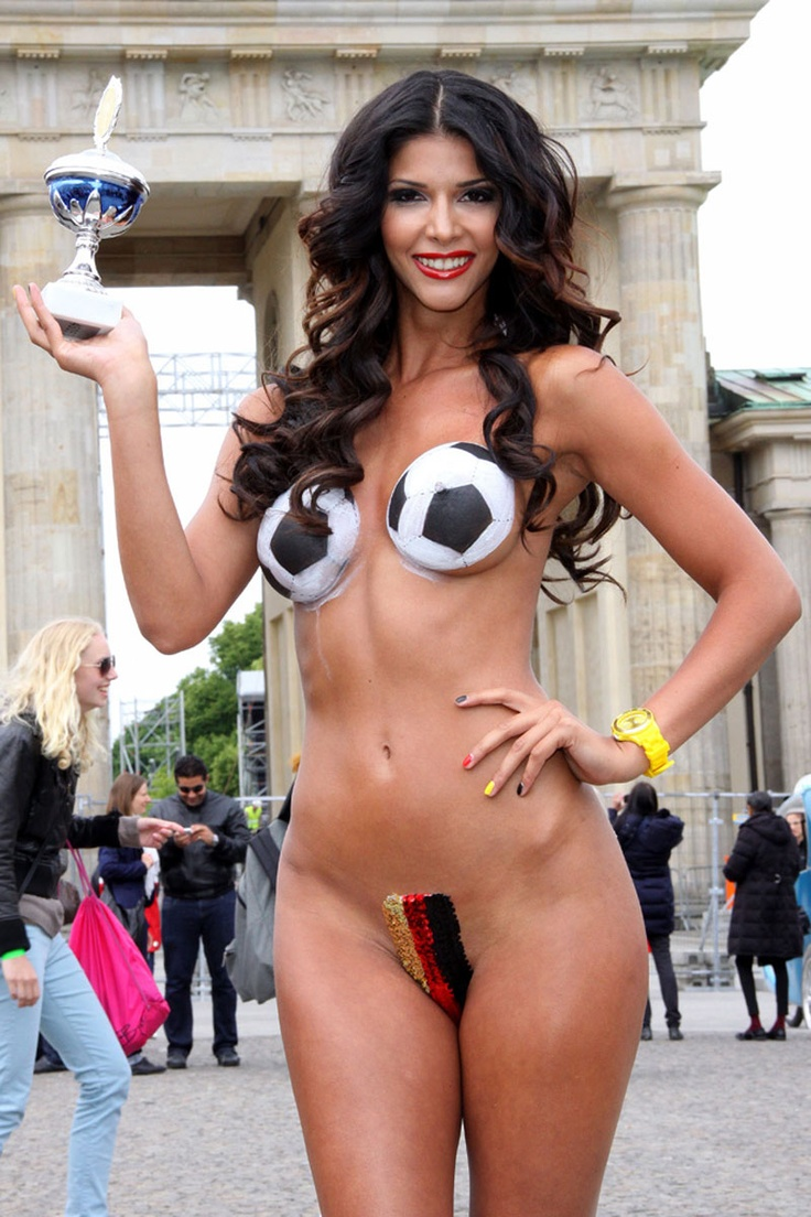 MICAELA SCHAEFER in Bodypaint Bikini at Brandenburg Gate in Berlin