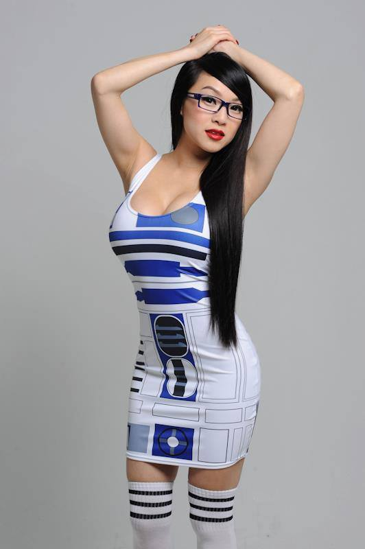 Unique Star Wars R2D2 Robot Printing Sexy Party Bodycon Tank Dress For Women