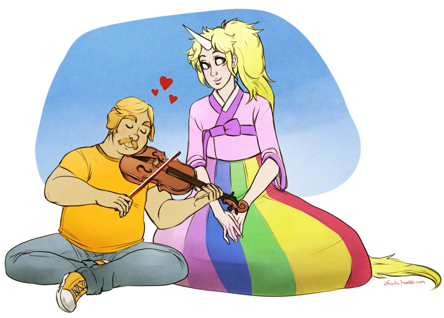 Jake the Dog and Lady Rainicorn from Adventure Time